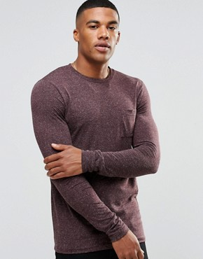 ASOS Linen Mix Muscle Long Sleeve T-Shirt With Pocket In Oxblood