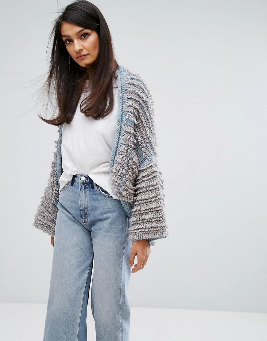 M.i.h Jeans Shaggy Knit Cardigan - Stone blue