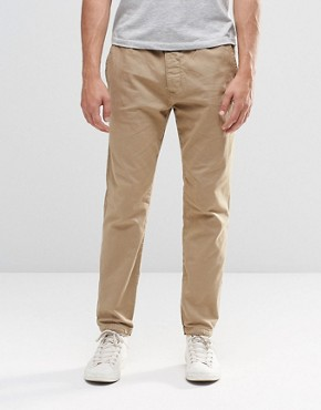 Abercrombie & Fitch Woven Cuffed Jogger In Stretch Canvas In Beige