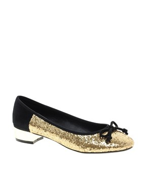 Image 1 of ASOS LAKE Ballet Flats with Block Heels