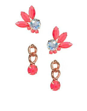 Image 1 ofASOS Stone &amp; Mini Drop Earrings