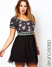 ASOS CURVE Skater Dress With Rose Sequin Embellishment