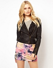 Barneys Originals Leather Look Asymmetric Biker Jacket