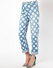 House of Holland Cropped Boy Jeans with Polka Dot Print