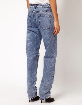 Image 2 ofASOS Acid Wash Boyfriend Jeans with Rip Detail