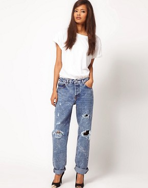 Image 4 ofASOS Acid Wash Boyfriend Jeans with Rip Detail