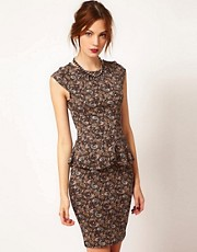 Warehouse Paisley Peplum Dress
