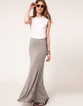 Image 1 ofASOS Jersey Maxi Skirt with Seam Detail