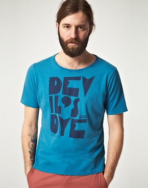Image 1 ofNudie Organic Wide Neck Devil Dye T-Shirt