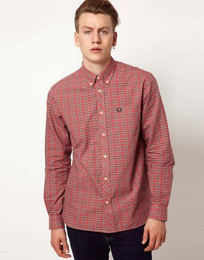 Image 1 ofFred Perry Oxford Shirt Tartan Pinpoint