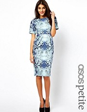 ASOS PETITE Exclusive Wiggle Dress In Ombre Leaf Print