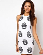 Motel Zena Dress in Henna Hand Print