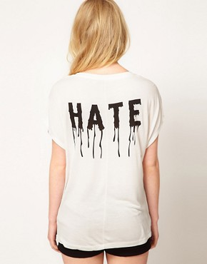 Image 2 ofVero Moda Dripping Love Hate T Shirt