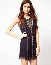 French Connection Bex Beaded Silk Dress