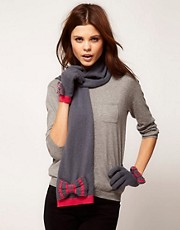 Alice Hannah Exclusive to Asos Stripe Bow Glove &amp; Scarf Set