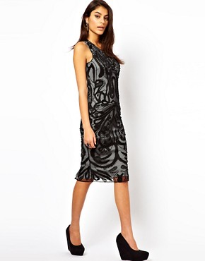 Image 2 of ASOS Midi Dress With Beaded Embroidery