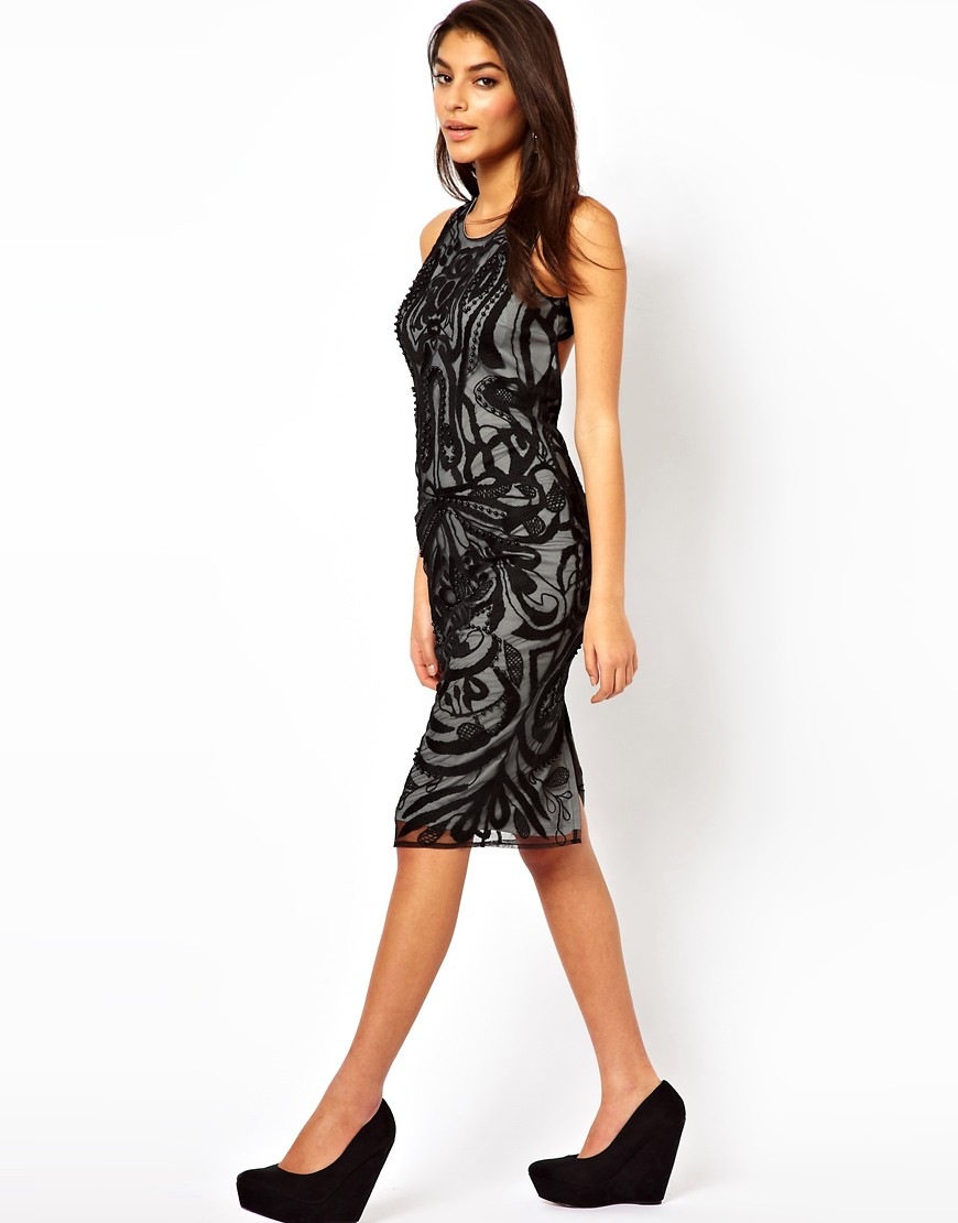 Image 4 of ASOS Midi Dress With Beaded Embroidery