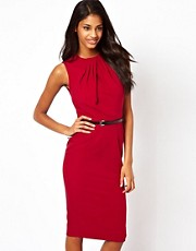 ASOS Sleeveless Pencil Dress With Twist Neck And Belt