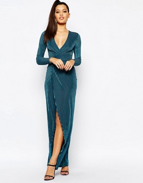 Missguided Slinky Plunge Front Wrap Dress