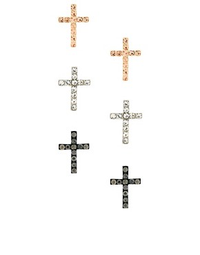 Image 1 ofASOS 3 Pack Stone Cross Earrings