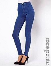 ASOS PETITE Denim Disco Pant in Mid Wash