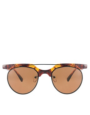Image 2 ofASOS Flat Top Bar Detail Round Sunglasses