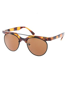 Image 1 ofASOS Flat Top Bar Detail Round Sunglasses