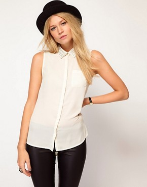 Image 1 ofOasis Embellished Collar Blouse