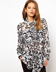 American Apparel Illustrated Cat Print Oversized Shirt