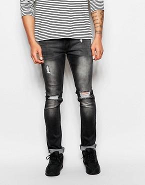 Black Kaviar Skinny Distressed Jeans