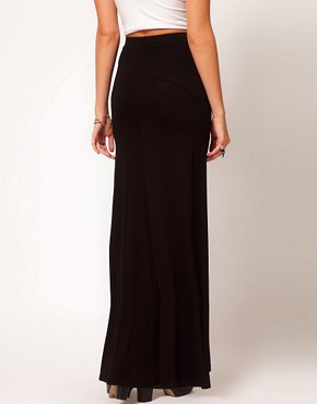 Image 2 ofASOS PETITE Maxi Skirt With Seam Detail
