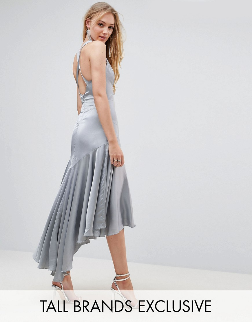 Jarlo Tall Drop Hem Pleated Midi Dress With Cross Back Detail - Pale blue