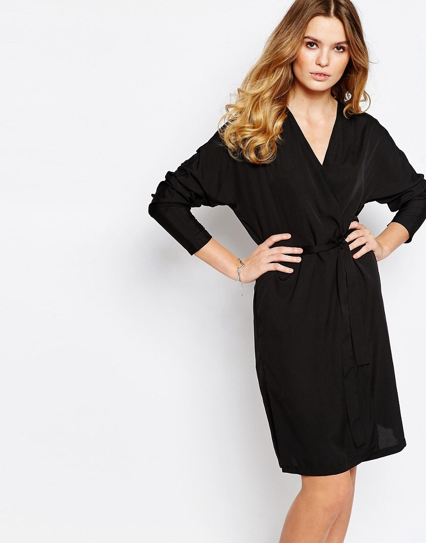 First & I Wrap Front Kimono Dress - Black