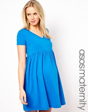 Image 1 ofASOS Maternity Wrap Skater Dress with Cap Sleeve