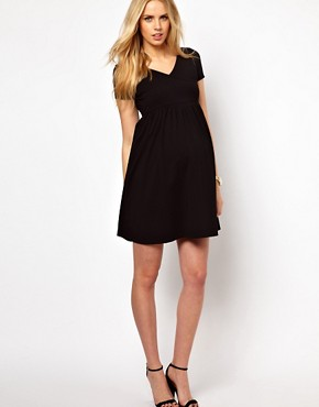 Image 4 ofASOS Maternity Wrap Skater Dress with Cap Sleeve