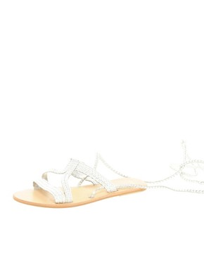 Image 3 ofASOS FIJI Leather Tie Up Flat Sandals
