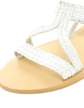 Image 4 ofASOS FIJI Leather Tie Up Flat Sandals