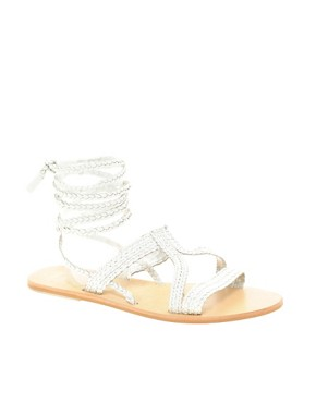 Image 1 ofASOS FIJI Leather Tie Up Flat Sandals