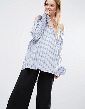 Weekday Pinstripe Tunic With Cold Shoulder Detail
