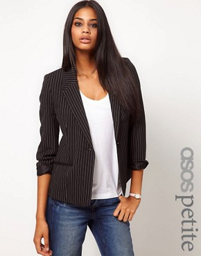 Image 1 ofASOS PETITE Exclusive Blazer With Pinstripe