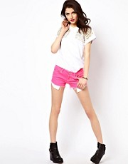 Reverse Denim Shorts In Studded Neon