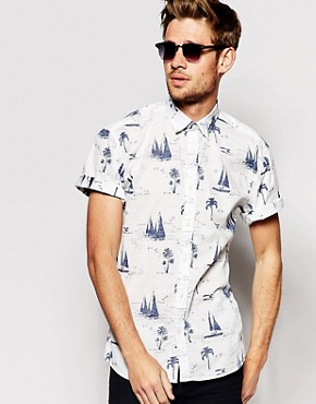 Selected Short Sleeve Shirt with All Over Nautical Print