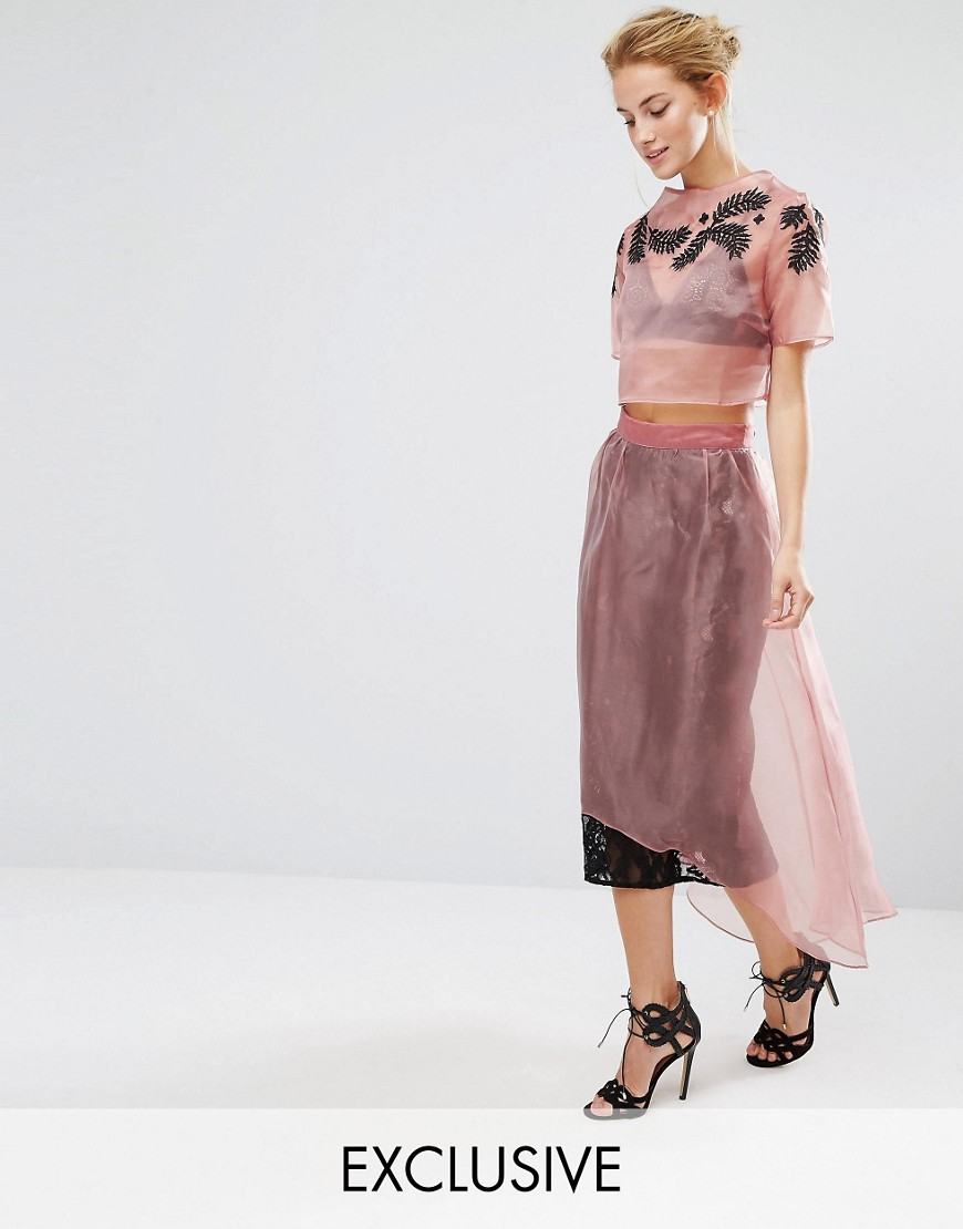Hope & Ivy Midi Skirt in Lace with Organza Overlay Co-ord - Pink