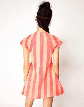 Image 2 ofHouse of Holland Silk Mix Jaquard Stripe Dress