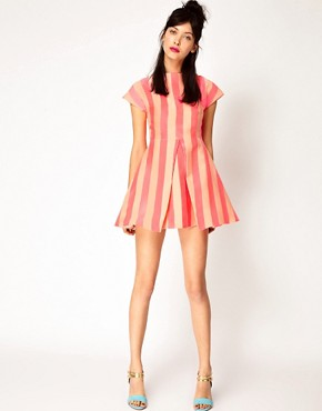 Image 4 ofHouse of Holland Silk Mix Jaquard Stripe Dress