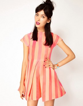 Image 1 ofHouse of Holland Silk Mix Jaquard Stripe Dress