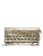 Mango Foldover Stud Clutch Bag