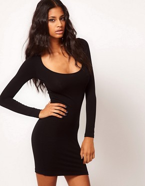 Image 1 ofASOS Mini Bodycon Dress with Long Sleeves