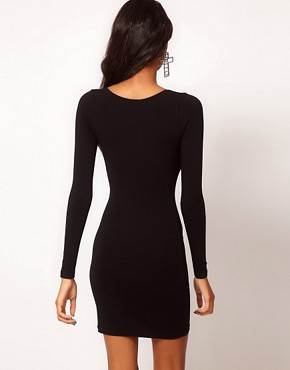 Image 2 ofASOS Mini Bodycon Dress with Long Sleeves