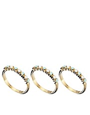 Orelia Three Row Mini Stone Ring